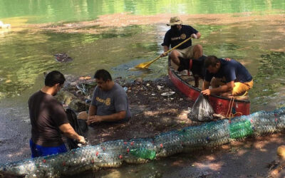 River cleanup in Belize